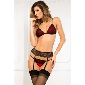 3 Piece Crown Pleasure Garter Set - Medium / Large