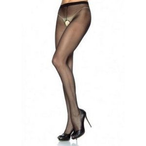 Sheer Nylon Crotchless Pantyhose - Black - One Size