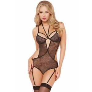 Lace Teddy with Halter Necklace with Garter - Black - One Size