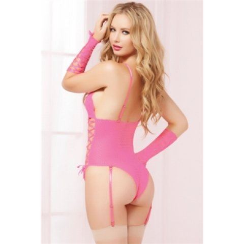 Lace and Net Teddy with Gladiator Gloves - Pink - One Size