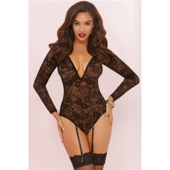 Long Sleeve Teddy with Garters - Black - One Size