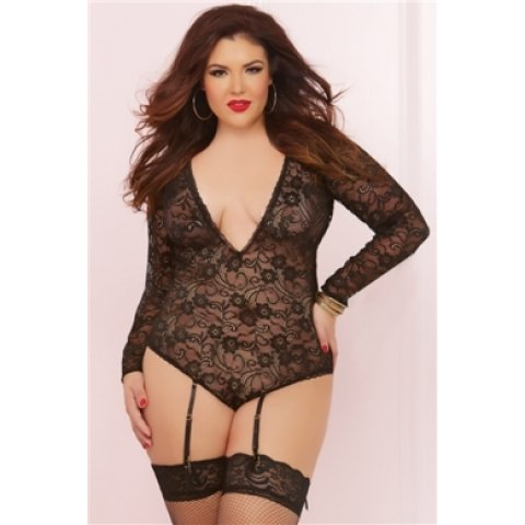 Long Sleeve Teddy with Garters - Black - One Size Queen