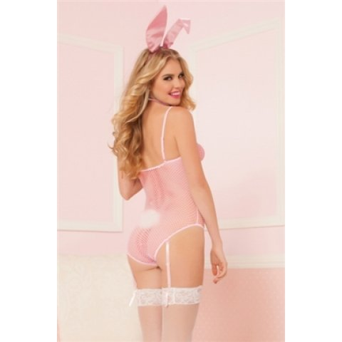 Bunny Business Seamless Fishnet Teddy - Pink - One Size