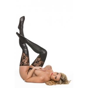 Kitten Lace & Wet Look Tights - One Size