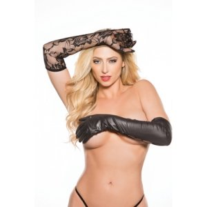 Kitten Lace & Wet Look Gloves - One Size