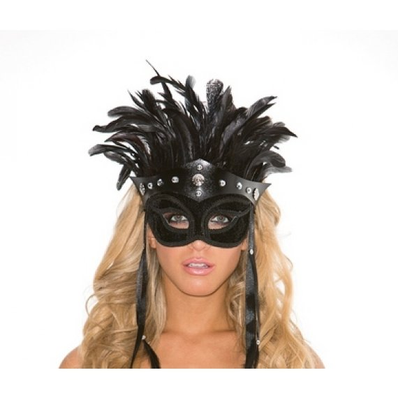 Faux Leather Mask with Feather  Headress