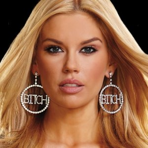 "BITCH"" RHINESTONE DOORKNOCKER EARRINGS, (2"")"