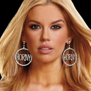 "HORNY"" RHINESTONE DOORKNOCKER EARRINGS, (2"")"