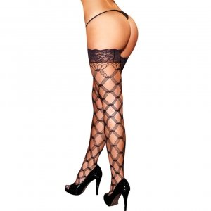 Hustler Lingerie Diamond Net Thigh Highs W/ Lace Top