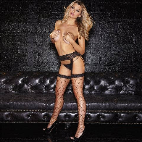 Hustler Lingerie Lace Garterbelt W/ Fencenet Thigh Highs