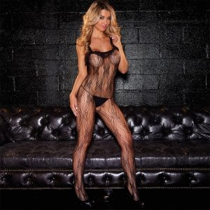 Hustler Lingerie Crotchless Lace Bodystocking