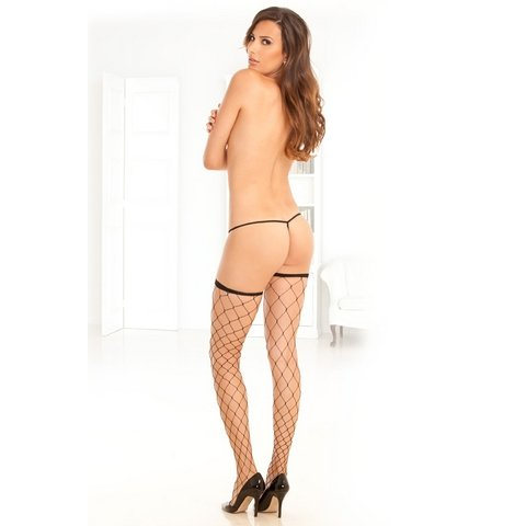 Fence Net Thigh Highs - Black - One Size