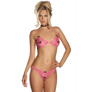 2 Piece Peek-A-Boo Bra and Crotchless Pink