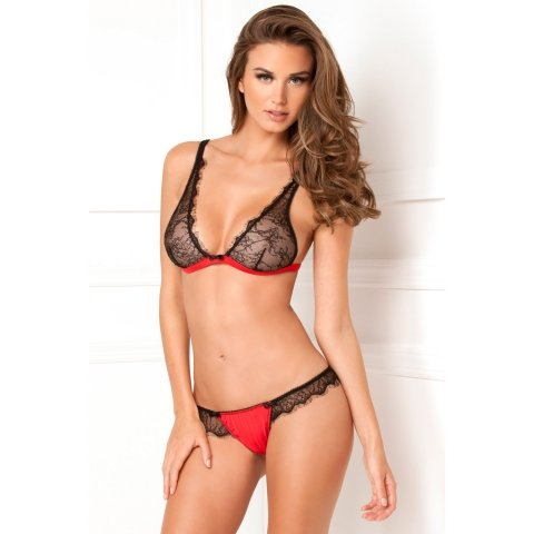 2 Piece Spellbound Lace Bra And Thong Set - Red