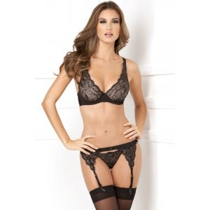 3 Piece Lux Lace Lurex Garter And Thong Set - Black