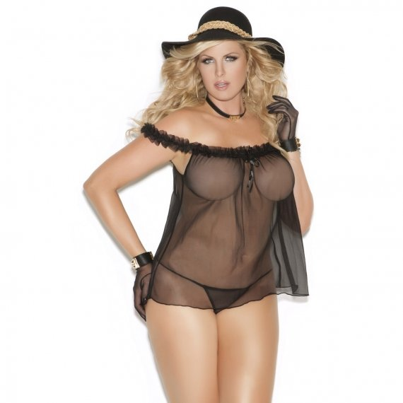 Off The Shoulder Babydoll And And G-String Set - Black - Queen