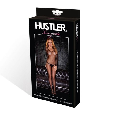 Hustler Lingerie Long Sleeve Crotchless Fishnet Bodystocking