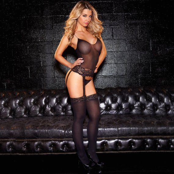 Hustler Lingerie One Piece Lace Bustier W/ Thigh Highs