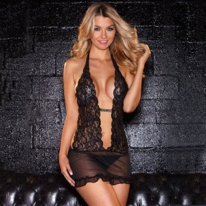 Hustler Lingerie Lace Halter Mini Dress