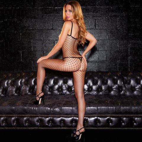 Hustler Lingerie Crotchless Fencenet Bodystocking
