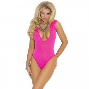 Opaque Deep V Hooded Teddy - Neon Pink - One Size