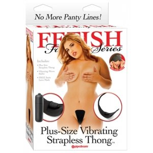 Fetish Fantasy Series Plus Size Vibrating Strapless Thong - Black
