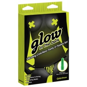 Glow In The Dark Vibrating Crotchless Panty And Pasties Set - Zebra