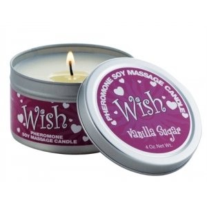 Wish, Vanilla Sugar Fragrance PHEROMONE Soy Massage Candle - 4 oz.