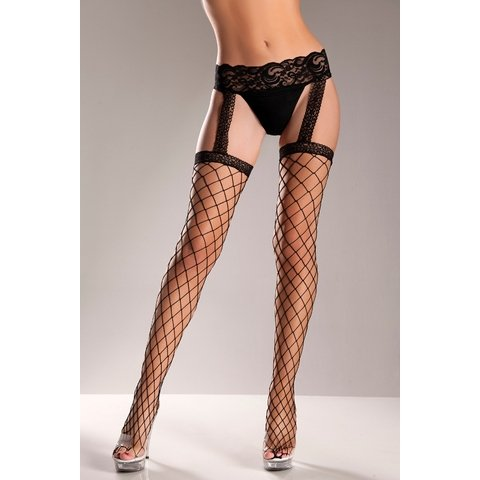 Fence Net Garter Belt Stockings - One Size