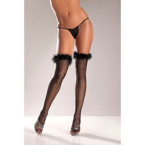 Marabou-Trimmed Fishnet Thigh Highs - One Size