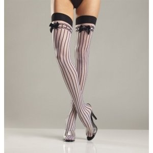 Sheer Nylon Stocking - Black/White - One Size