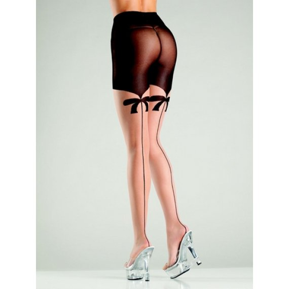 Mock Suspender Tights - Nude/Black - One Size