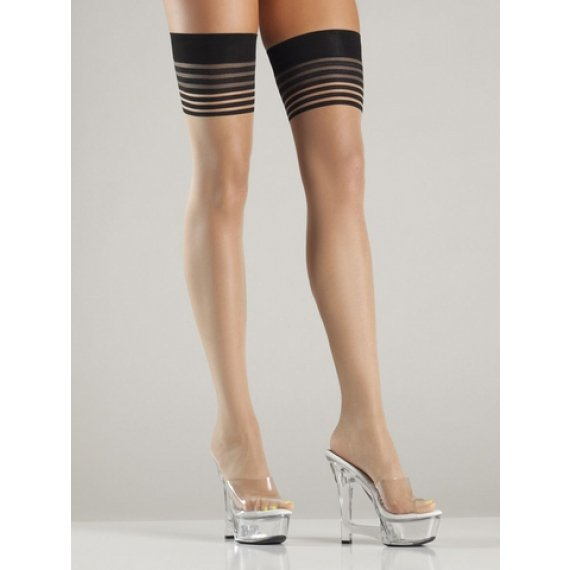 Multi-Stripe Thigh Highs - Nude/Black - One Size