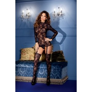 Long Sleeve Suspender Bodystocking Set - Black - One Size