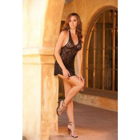 Black Stretch Lace Halter Nightie