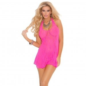 Lace Halter Mini Dress - Neon Pink - One Size