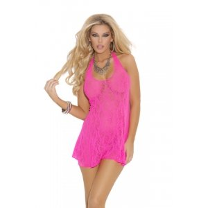 Lace Halter Mini Dress - Neon Pink - Queen Size