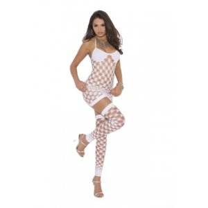 3-Piece Diamond Net Mini Dress - White - One Size