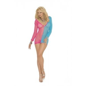 Long Sleeve Mini Dress - Neon Pink-Turquoise - Queen