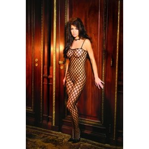 Black Lycra Crochet Bodystocking- Queen Size