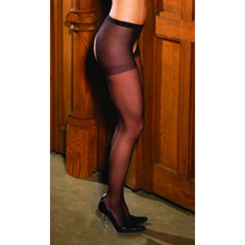 Black Misses Sheer Crotchless Pantyhose
