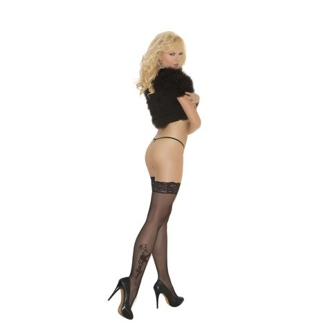 Sheer Lace Top Thigh High - Black - One Size