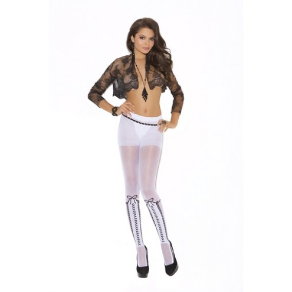Pantyhose With Lace Up Detail - White - One Size