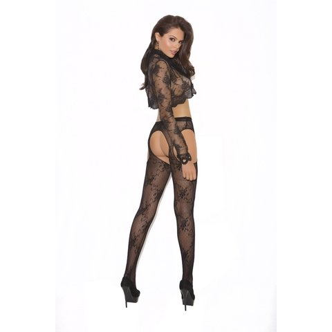 Lace Suspender Pantyhose - Black - One Size