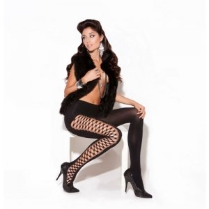 Diamond Net Pantyhose - Black - One Size