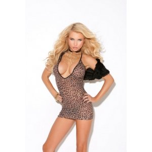 Deep V Mini Dress - Leopard - One Size