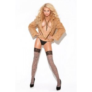 Thigh High With Lace Top - Leopard Print - One Size
