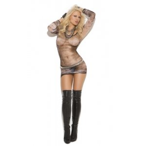 Diamond Net Mini Dress - Black - One Size