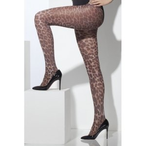 Opaque Leopard Print Tights