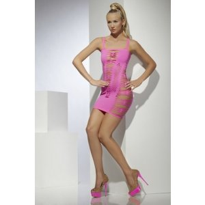 Slashed Seamless Mini Dress - Neon Pink